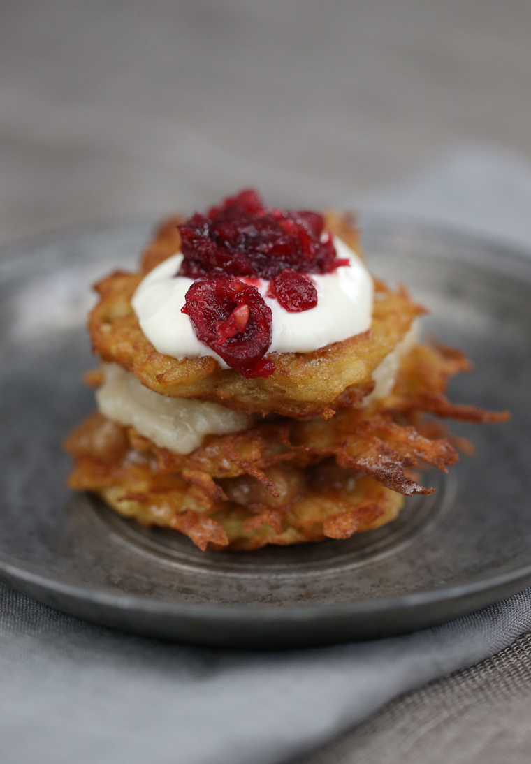 Latkes with three sweet toppings