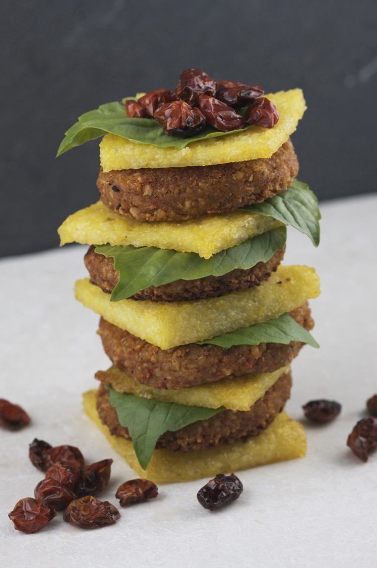 Polenta Bean Burger Tower