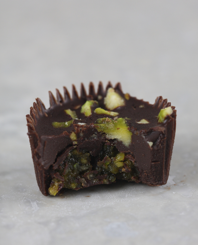 ice chocolate with mint and pistachio marzipan - photo philip blankenship