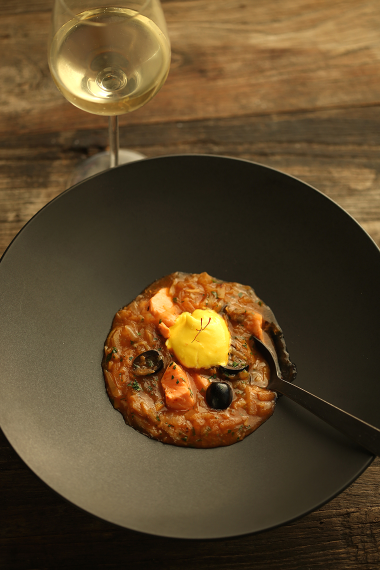 salmon soup with olives & saffron aioli - photo philip blankenship