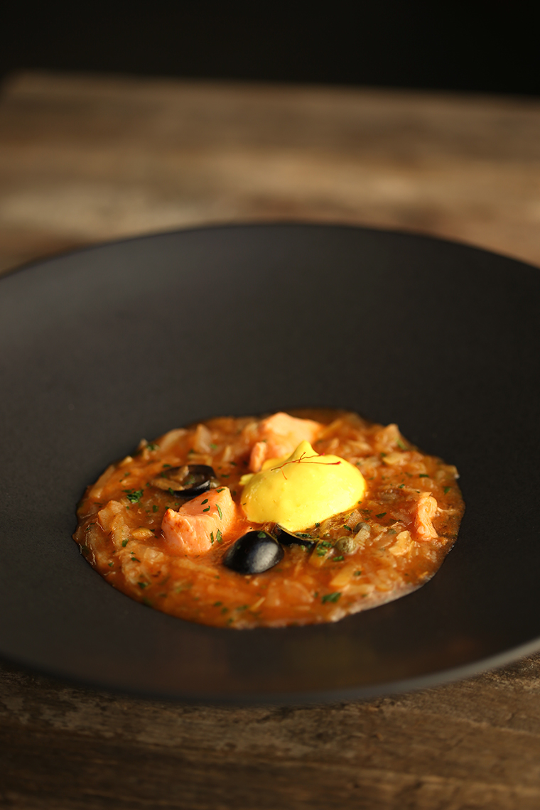 salmon soup with olives & saffron aioli - photo-philip blankenship